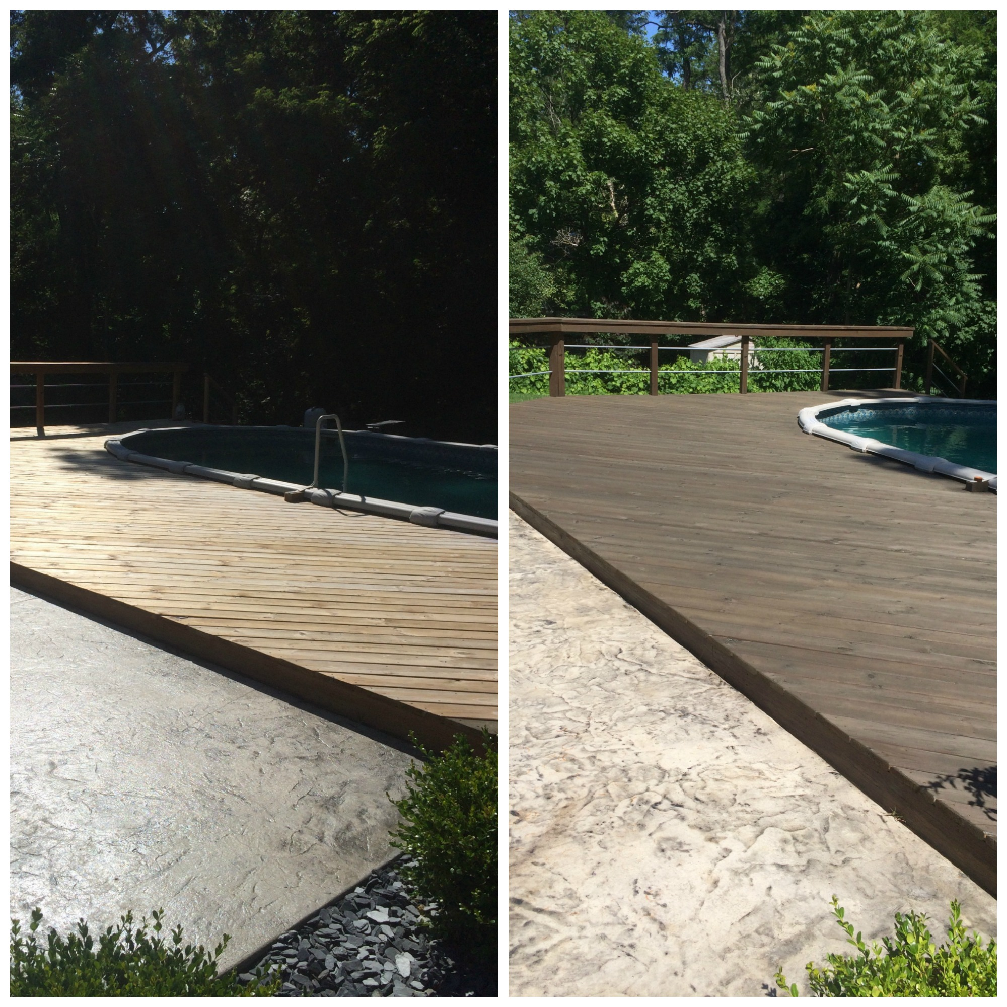 Anderson Pressure Washing, deck cleaning and sealing before and after